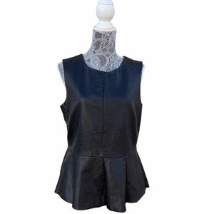 Urban Outfitters CO Black Faux Leather Peplum Top
